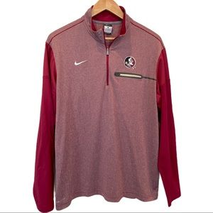 Nike FSU Contrast Sleeve 1/4 Zip Pullover Large